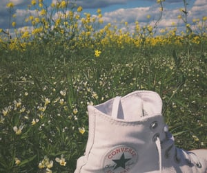 clouds, converse, and flowers image