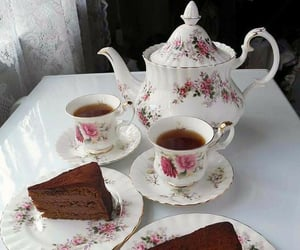 cake, tea, and coffee image