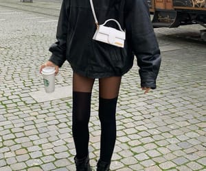 fashion, leather jacket, and look image