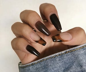 brown, long nails, and nails image