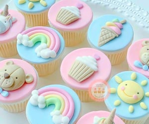 colorful, cupcakes, and pastel colors image