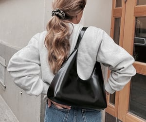 hair, bag, and blonde image
