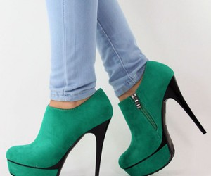 green, high heels, and pumps image