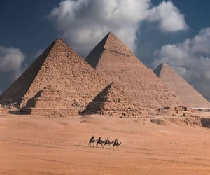 beautiful places, camels, and pyramids image