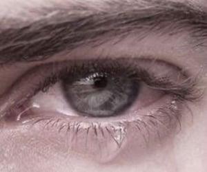 blue eyes, crying, and eyes image