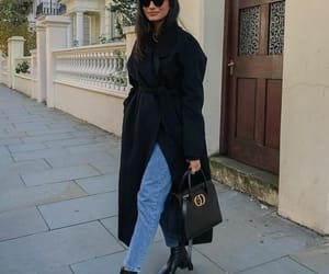 ankle boots, black coat, and blogger image