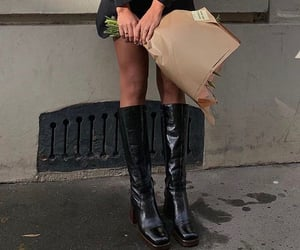 street style, knee high boots, and flower bouquet image