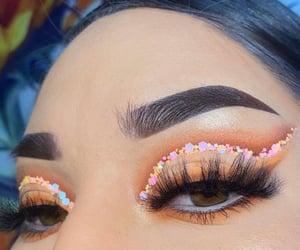 eyelashes, glitter, and make-up image