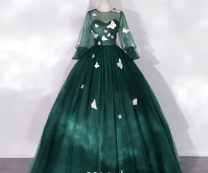 dark green dress, flower fairy dress, and long dress image