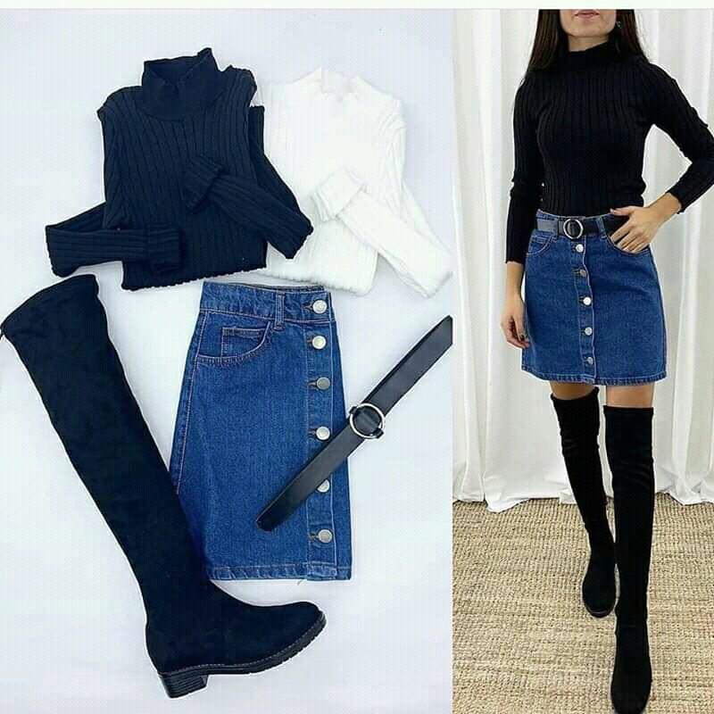 belt, boots, and denim skirt image