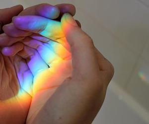 hands, rainbow, and cute image
