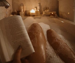 bath, book, and bubbles image