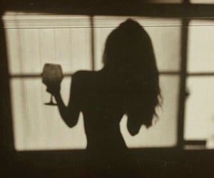 girl, shadow, and wine image