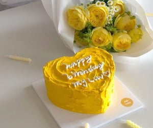 aesthetic, cake, and yellow image