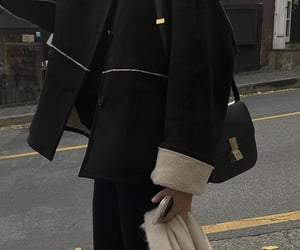 black coat, faux fur, and street style image