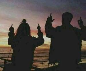 sunset, couple, and grunge image