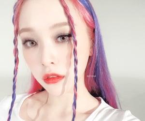dreamcatcher, pink purple hair, and selca selfie image