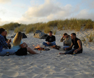 beach, fire, and friends image
