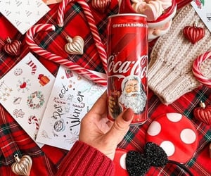 candy cane, coca cola, and red image