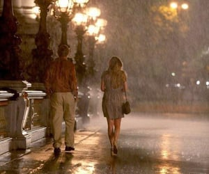 rain, midnight in paris, and couple image
