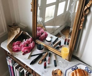 flowers, makeup, and mirror image