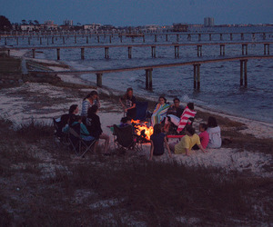 friends, beach, and fire image