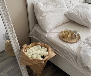 flowers, bedroom, and bed image