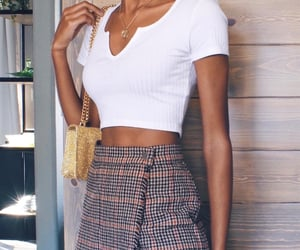 outfit inspiration, summer tan, and golden jewelry image
