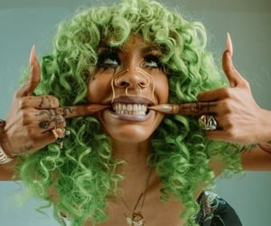 curls, green, and green hair image