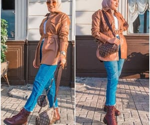 hijab, jeans, and tan image