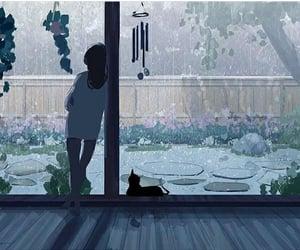 alone, anime, and balcony image