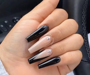 nails, girl, and black image