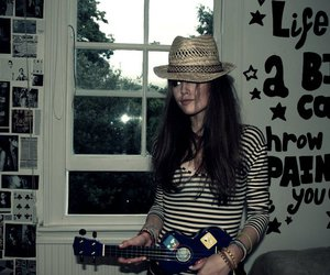 girl, wall, and hat image