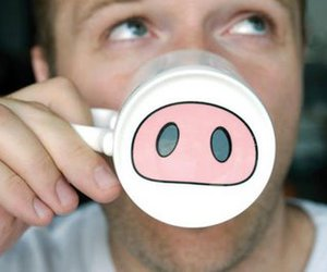 boy, cup, and pig image