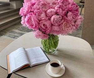flowers, coffee, and peonies image