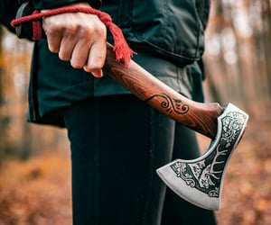 camping, hatchet, and camping hatchet image