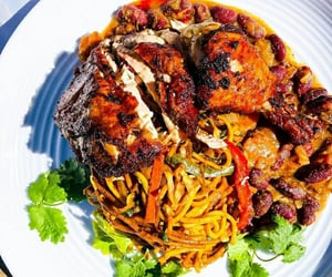celery, roast chicken, and chow mein image
