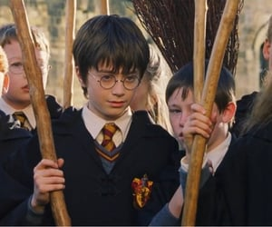 broom, harry potter, and hermione granger image