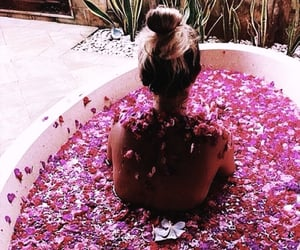 girl, flowers, and bath image