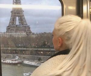 paris, blonde hair, and eiffel tower image