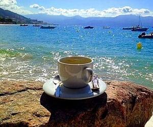 beach, coffee, and sea image