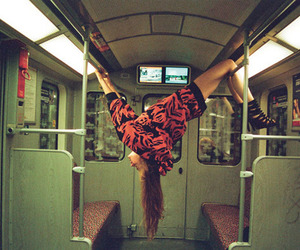 girl, train, and subway image
