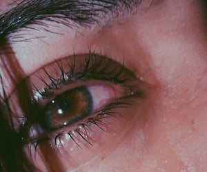 brown, crying, and brown eyes image