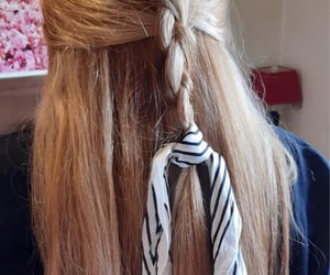 blond, hairstyle, and long hair image