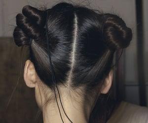 accessories, bun, and dark hair image