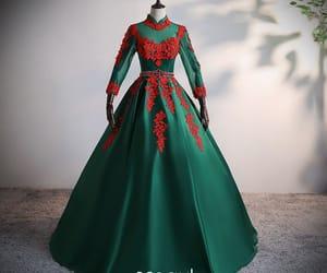 dark green dress, vintage dress, and girl image