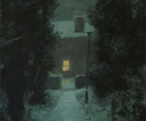 oil on canvas, winter, and winter paint image