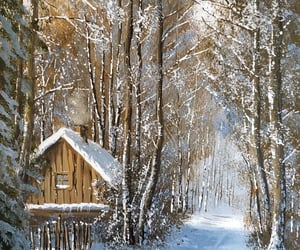 cottage, winter, and woods image