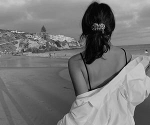 beach, black and white, and woman image