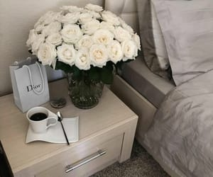 flowers, coffee, and dior image